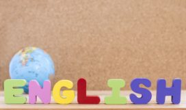 word-english-with-globe-wooden-background